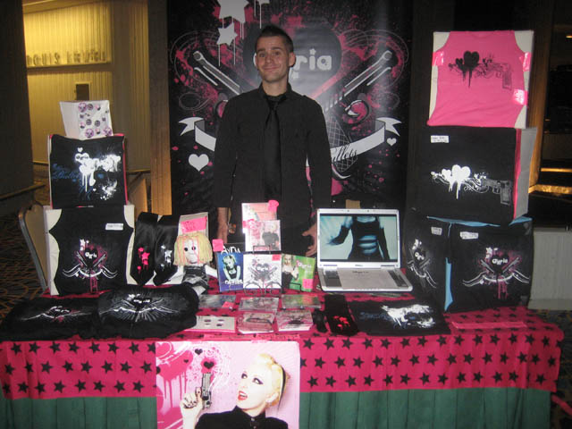 Kevin at the Ayria Merch Table (one of the amazing helpers)