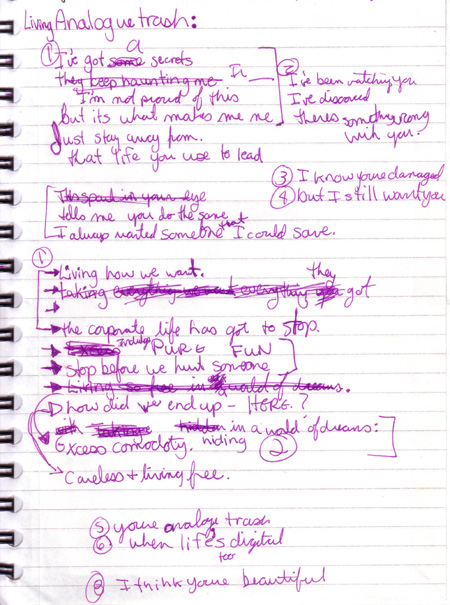 Purple Mess of Lyrics for Analog Trash